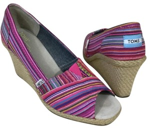 TOMS Logo Tom Ford Multi Striped Pink and Blue Wedges