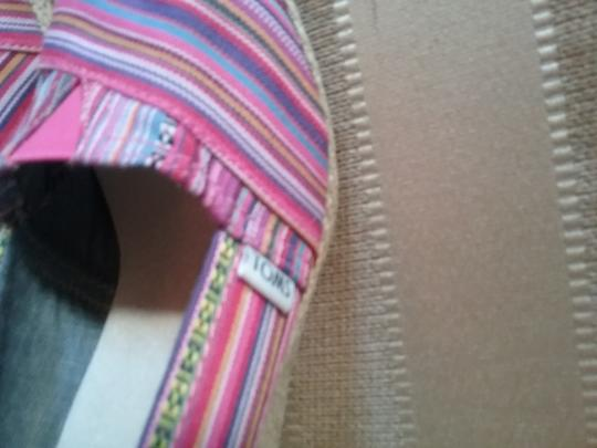 TOMS Logo Tom Ford Multi Striped Pink and Blue Wedges Image 1
