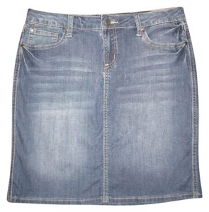 Earl Jean Denim Stretch Distressed Skirt blue