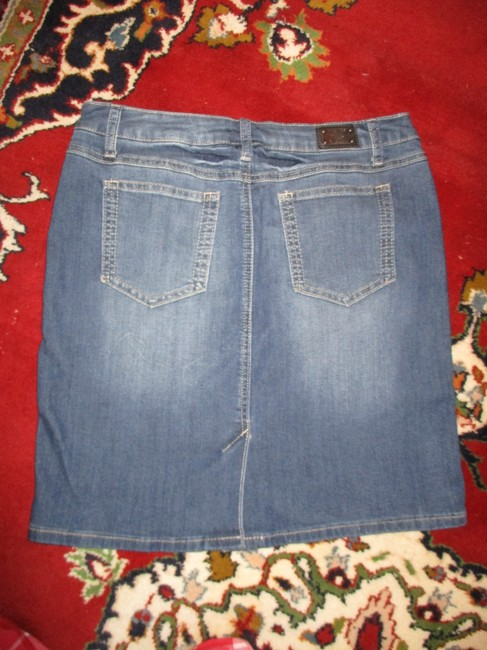 Earl Jean Denim Stretch Distressed Skirt blue Image 5