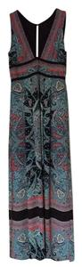 multi: black blue coral grey Maxi Dress by BCBGMAXAZRIA