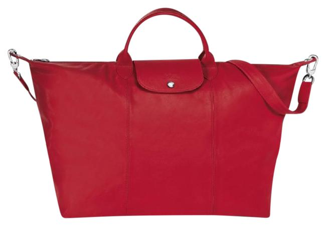 Item - L Pliage Cuir (L) Red/Cherry Lambskin Leather Weekend/Travel Bag