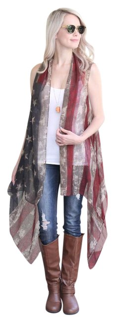 Item - American Flag U.s Print Loose Fit Cardigan Vest Size OS (one size)