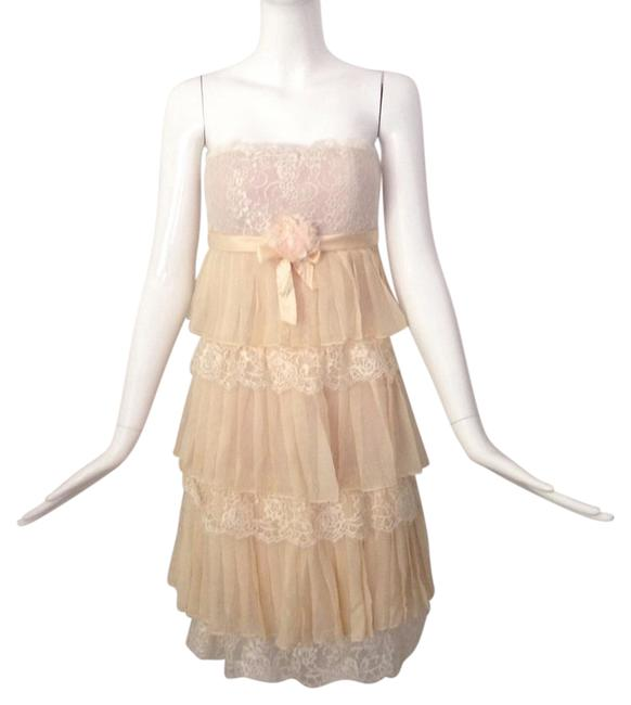 Item - Ivory Tiered Silk Lace Mid-length Cocktail Dress Size 2 (XS)