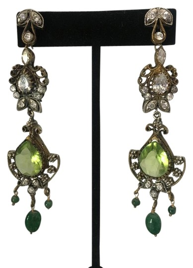 Preload https://img-static.tradesy.com/item/21819621/green-bollywood-long-dangly-chandelier-silver-earrings-0-1-540-540.jpg