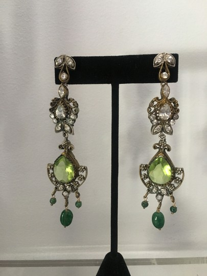 Vintage Vintage Bollywood long dangly chandelier silver earrings Image 1
