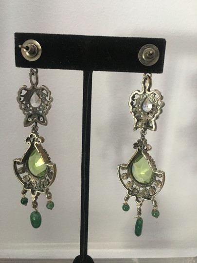 Vintage Vintage Bollywood long dangly chandelier silver earrings Image 2