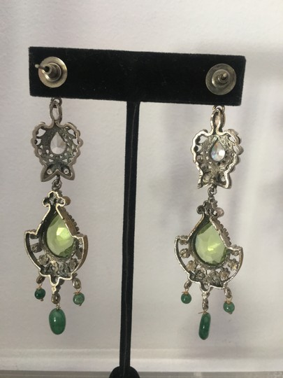 Vintage Vintage Bollywood long dangly chandelier silver earrings Image 3
