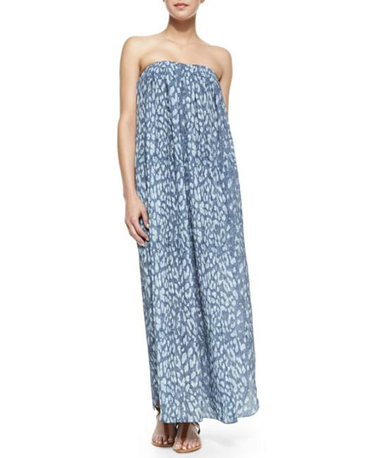Blue Maxi Dress by L'AGENCE Strapless Silk Maxi Image 1