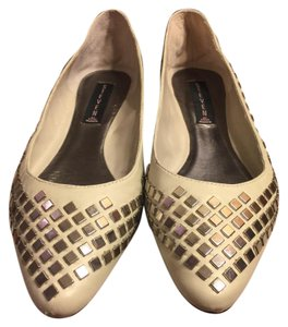 Steve Madden Putty (very light grayish-beige)/ Silver Flats