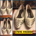 Steve Madden Putty (very light grayish-beige)/ Silver Flats Image 1