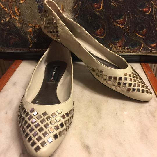 Steve Madden Putty (very light grayish-beige)/ Silver Flats Image 11