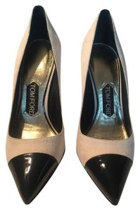 Tom Ford Cap Toe Pointed Toe Suede Patent Leather Ivory Pumps