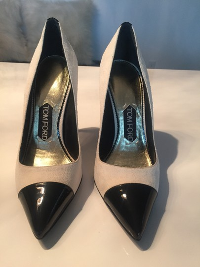 Tom Ford Cap Toe Pointed Toe Suede Patent Leather Ivory Pumps Image 2
