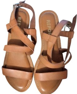 REPORT Leather Rubber Sole Tan Sandals