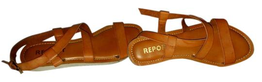 REPORT Leather Rubber Sole Tan Sandals Image 1
