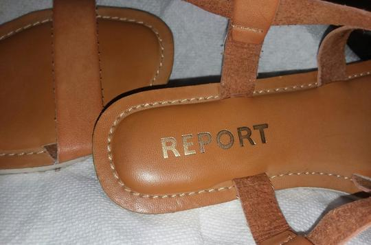 REPORT Leather Rubber Sole Tan Sandals Image 3