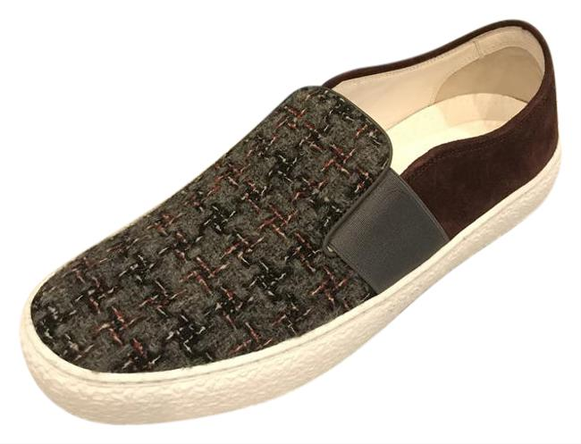 Chanel Burgundy/Grey 16b Plaid Tweed Suede Slip Loafer Moccasin Sneakers Size EU 36.5 (Approx. US 6.5) Regular (M, B) Chanel Burgundy/Grey 16b Plaid Tweed Suede Slip Loafer Moccasin Sneakers Size EU 36.5 (Approx. US 6.5) Regular (M, B) Image 1