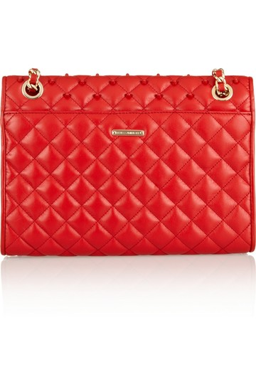 Rebecca Minkoff Rm Affair Quilted Leather Studded Gold Shoulder Bag