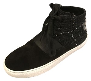 Chanel Hi Top High Top Sneakers Tweed Suede Black Athletic