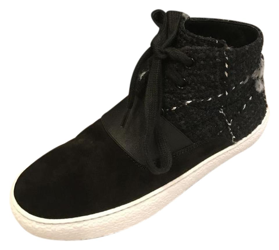 e8a23266da50 Chanel Black 16b Tweed Suede Lace Up High Top Sneakers Trainers Sneakers.  Size  EU 36.5 ...