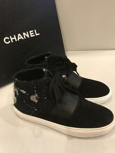 Chanel Hi Top High Top Sneakers Tweed Suede Black Athletic Image 1
