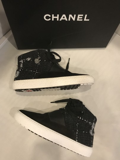 Chanel Hi Top High Top Sneakers Tweed Suede Black Athletic Image 2