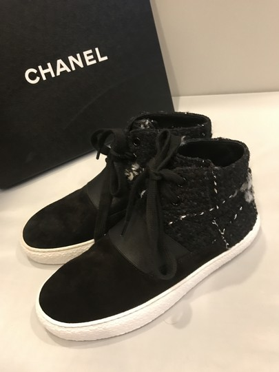 Chanel Hi Top High Top Sneakers Tweed Suede Black Athletic Image 6
