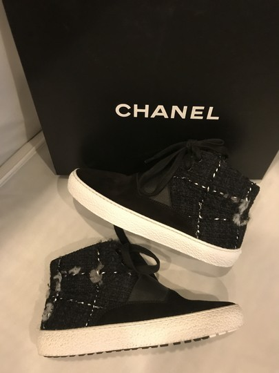 Chanel Hi Top High Top Sneakers Tweed Suede Black Athletic Image 7