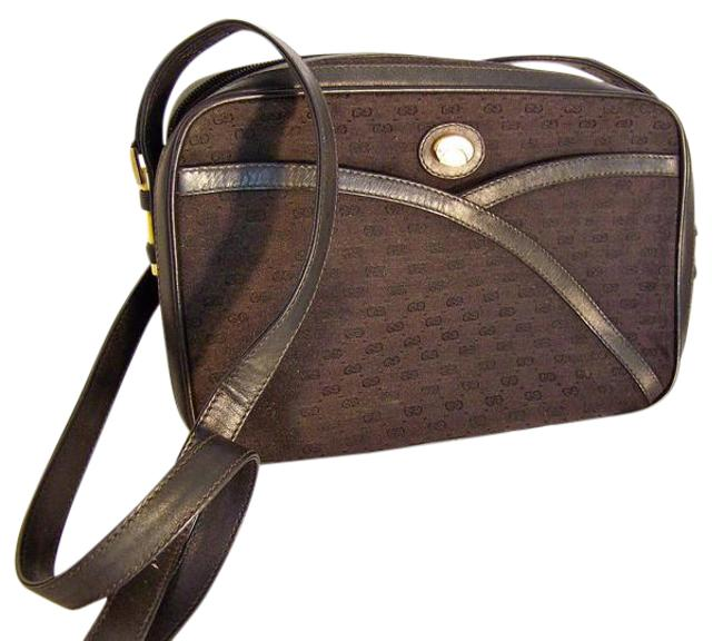 Gucci Vintage Purses/Designer Purses Black Canvas with Small G Logo Print and Black Leather Leather/Canvas Shoulder Bag Gucci Vintage Purses/Designer Purses Black Canvas with Small G Logo Print and Black Leather Leather/Canvas Shoulder Bag Image 1