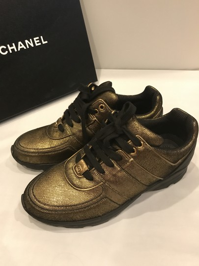 Chanel Cc Sneakers Kicks Fabric Gold Golden Brown Athletic Image 1