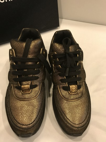 Chanel Cc Sneakers Kicks Fabric Gold Golden Brown Athletic Image 10