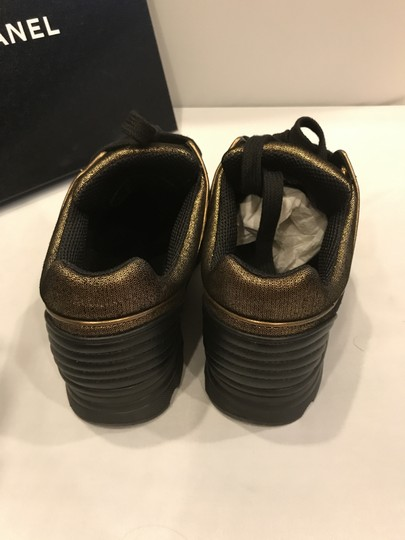 Chanel Cc Sneakers Kicks Fabric Gold Golden Brown Athletic Image 2