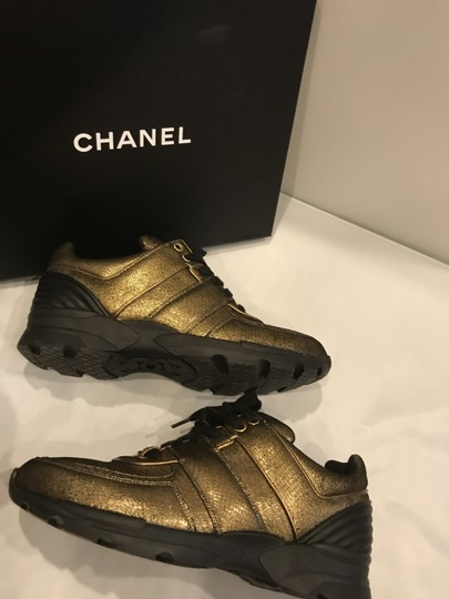 Chanel Cc Sneakers Kicks Fabric Gold Golden Brown Athletic Image 3
