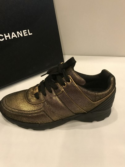 Chanel Cc Sneakers Kicks Fabric Gold Golden Brown Athletic Image 8