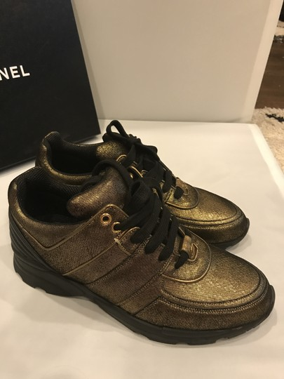 Chanel Cc Sneakers Kicks Fabric Gold Golden Brown Athletic Image 9