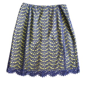 Carven Skirt Navy, Lime Green Yellow