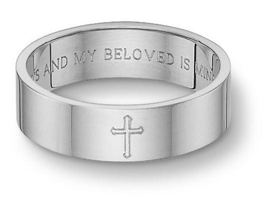 Apples of Gold Silver Sterling Song Solomon Cross Band (All Sizes) Ring Image 1