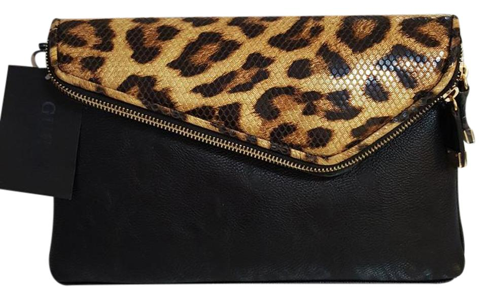 big selection of 2019 big collection look out for Guess Clutch Women's Envelop Leopard & Black Faux Leather Cross Body Bag