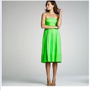 "J.Crew Green Silk Strapless ""Juliet"" Empire Waist Casual Dress Size 12 (L)"