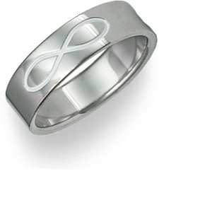 Apples of Gold White Black Natural Titanium Infinity Symbol Band (All Sizes) Ring
