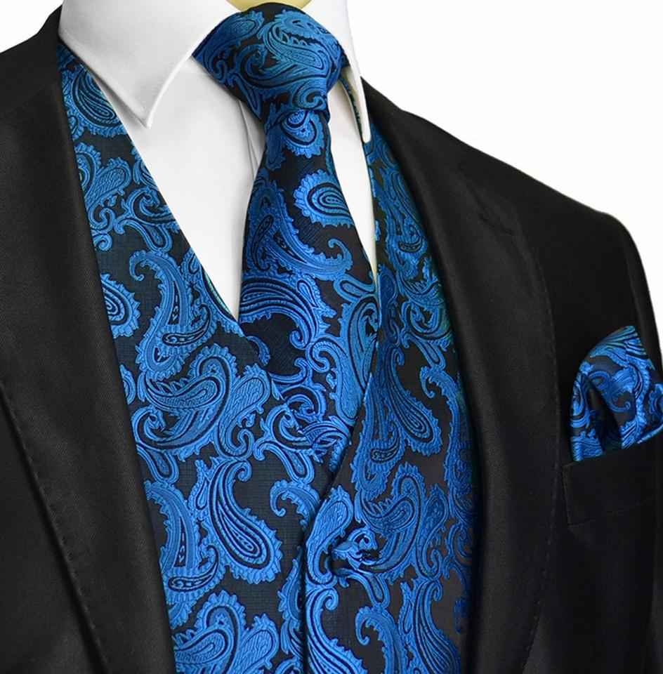 New Men/'s Brand Q Microfiber Neck Tie Necktie /& Hankie Set Paisley Blue Black