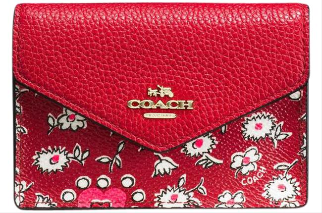 Coach Red W Envelope Card Case W/ Key Ring Wallet Coach Red W Envelope Card Case W/ Key Ring Wallet Image 1