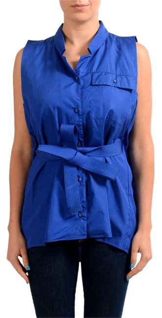 Item - Blue V-6708-s Button-down Top Size 4 (S)