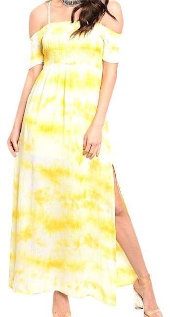 Preload https://img-static.tradesy.com/item/21821518/yellow-off-shoulder-smocked-tie-dye-long-night-out-dress-size-4-s-0-1-650-650.jpg