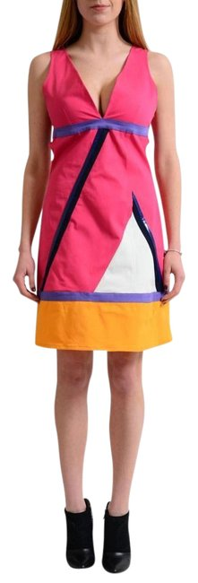 Item - Multi-color Jeans Couture Sleeveless Deep V-neck Sheath Short Casual Dress Size 8 (M)