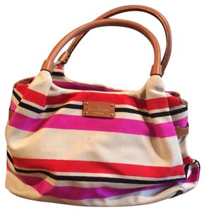 Kate Spade Satchel in Beige with red, navy and hot pink