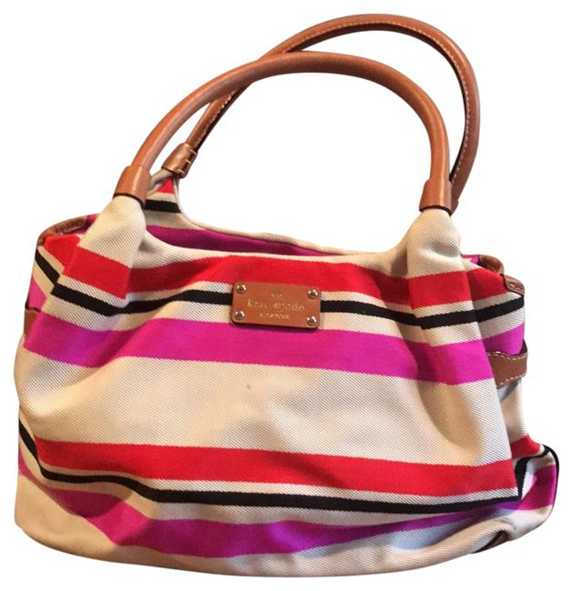 Kate Spade Cute Handbag Beige with Red Navy and Hot Pink Canvas Satchel Kate Spade Cute Handbag Beige with Red Navy and Hot Pink Canvas Satchel Image 1