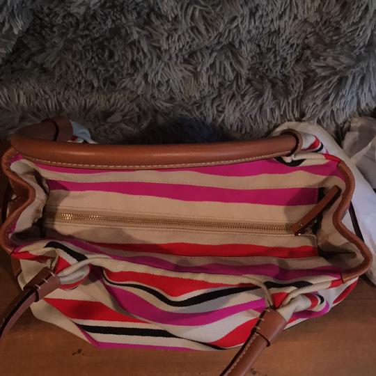 Kate Spade Satchel in Beige with red, navy and hot pink Image 7