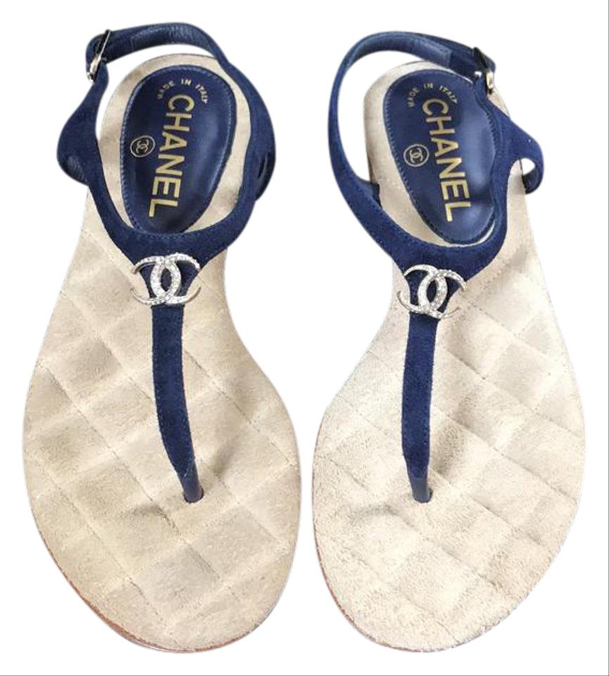 5bf690c2d Chanel Blue Thongs Classic Flip Flops Navy Suede Silver Flats 35c Sandals